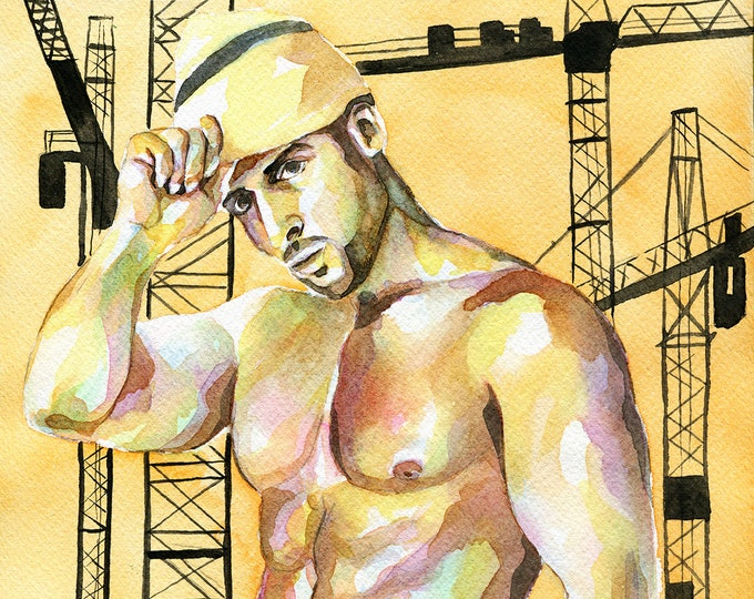 "PRINT Original Art Work Watercolor Painting Gay Male Nude ""Construction worker"""