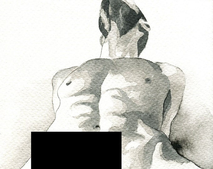 """PRINT of Original Art Work Watercolor Painting Gay Male Nude """"Stupendous"""""""