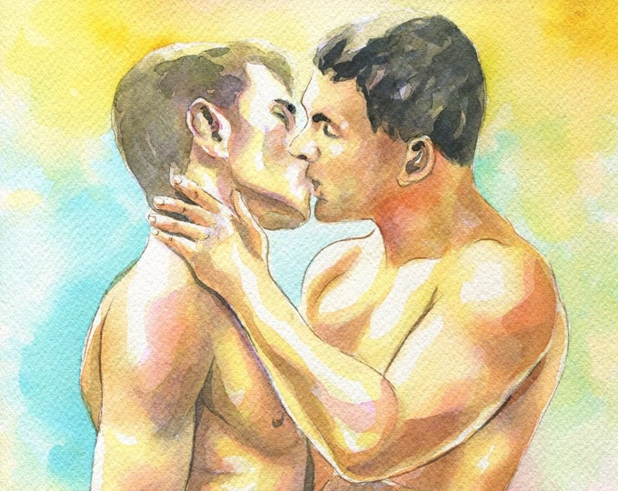 "PRINT of Original Art Work Watercolor Painting Gay Male Nude ""Kiss"""