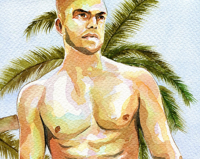 "PRINT Original Art Work Watercolor Painting Gay Male Nude ""Under palmtree"""