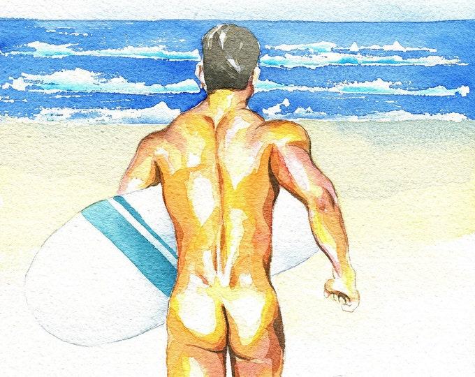 "PRINT of Original Art Work Watercolor Painting Gay Male Nude ""Summer time"""