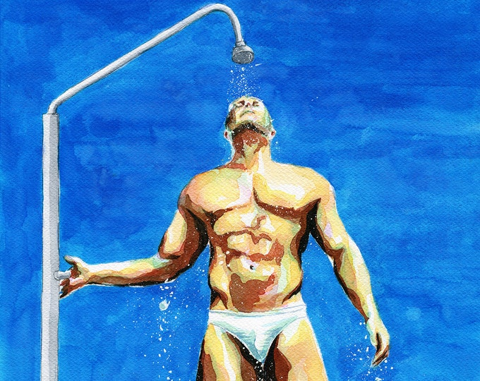 "PRINT Original Art Work Watercolor Painting Gay Male Nude ""Beach shower"""
