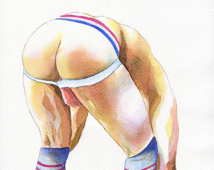 "PRINT of Original Art Work Watercolor Painting Gay Male Nude ""Caramel"""