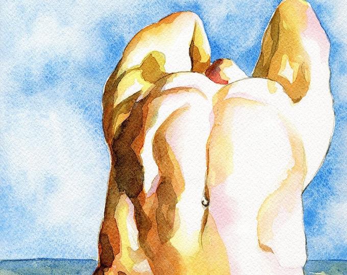 """PRINT of Original Art Work Watercolor Painting Gay Male Nude """"Flower"""""""