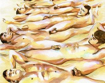 "PRINT Original Art Work Watercolor Painting Gay Male Nude ""Beach party 2"""