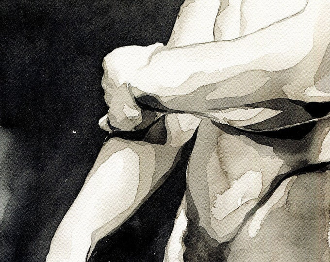"""PRINT of Original Art Work Watercolor Painting Gay Male Nude """"Right here"""""""