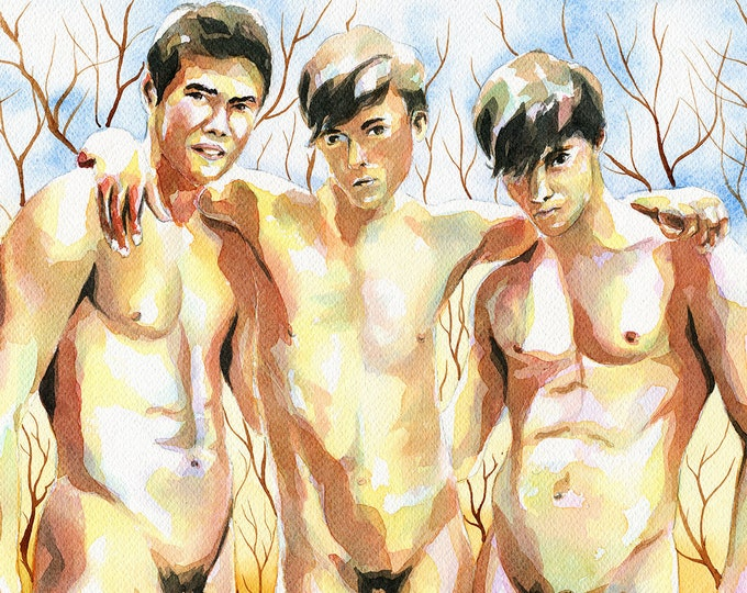 "Print of Original Artwork Watercolor Painting Erotic Male Man Nude Gay ""Three guys"""