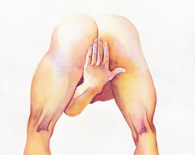 "PRINT of Original Art Work Watercolor Painting Gay Male Nude ""Just beginning"""
