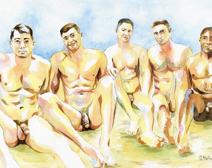 "PRINT Original Art Work Watercolor Painting Gay Male Nude ""Beach party 3"""
