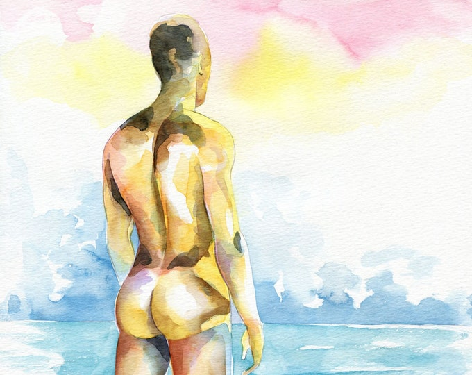 Original Artwork Watercolor Painting Erotic Male Man Nude Gay