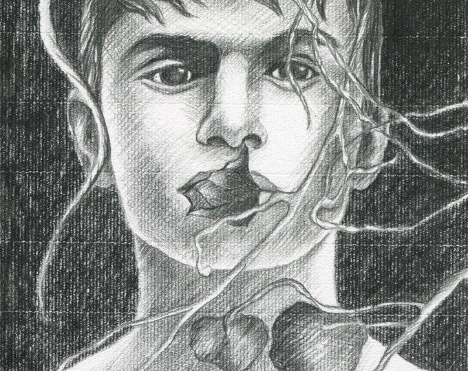 Original Artwork Pencil Drawing Erotic Male Man Portrait Gay