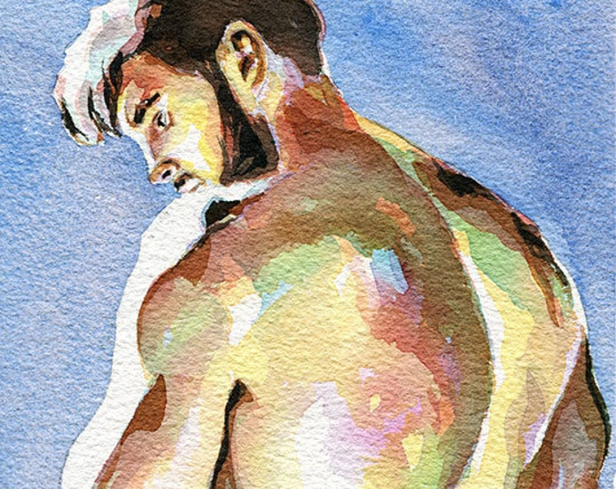 "PRINT Original Art Work Watercolor Painting Gay Male Nude ""Light"""