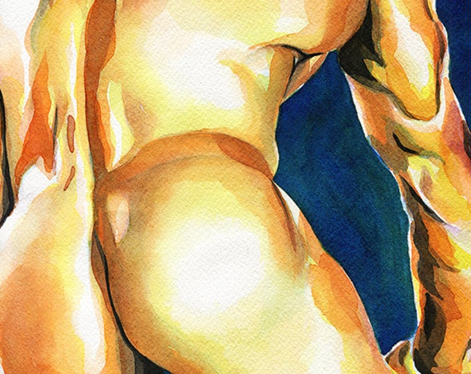 "PRINT of Original Art Work Watercolor Painting Gay Male Nude ""Tenderness"""