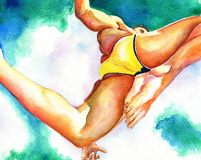 "PRINT Original Artwork Watercolor Painting Gay Man Male Nude ""Summer time!"""