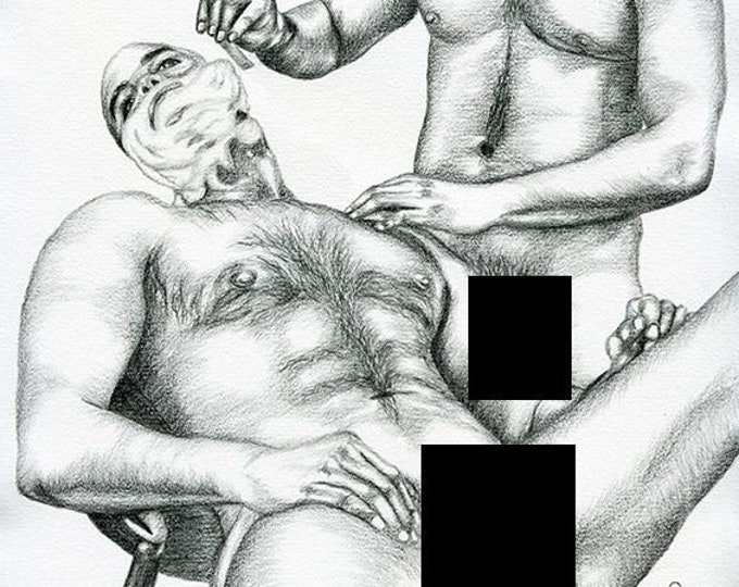 "PRINT of Original Pencil Drawing Gay Interest Male Nude ""Shaving"""