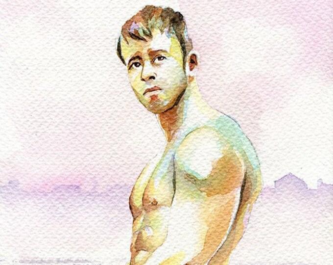 """PRINT of Original Art Work Watercolor Painting Gay Male Nude """"Depressed"""""""