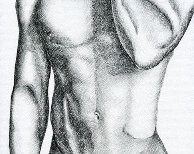 "PRINT of Original Art Work Pencil Drawing Gay Male Nude ""Bien avec toi"""