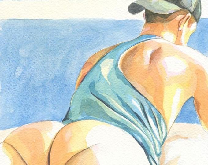 "PRINT of Original Art Work Watercolor Painting Gay Male Nude ""Cap guy"""