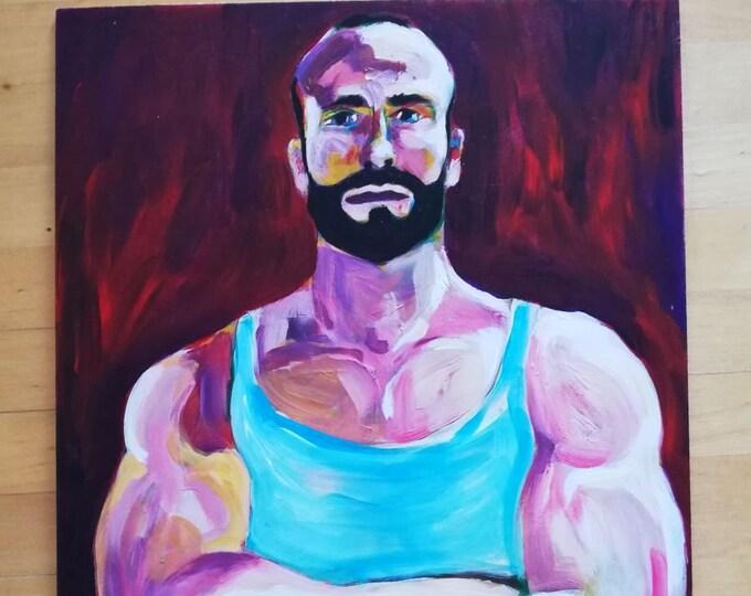 Original Artwork Oil Male Portrait Painting Gay Interest