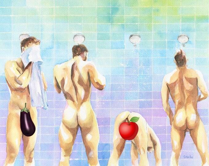 "PRINT of Original Art Work Watercolor Painting Gay Male Nude ""Shower 4"""