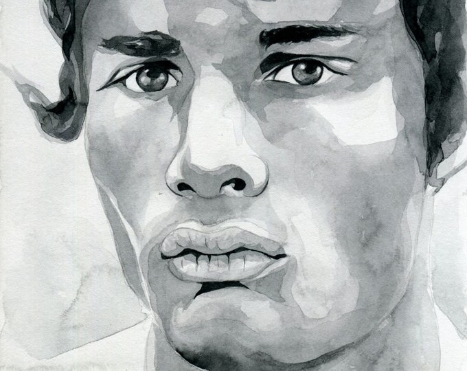 Original Artwork Watercolor Painting Male Portrait Man Gay