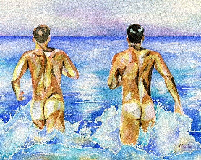 "PRINT Original Art Work Watercolor Painting Gay Male Nude ""Beach pleasure"""