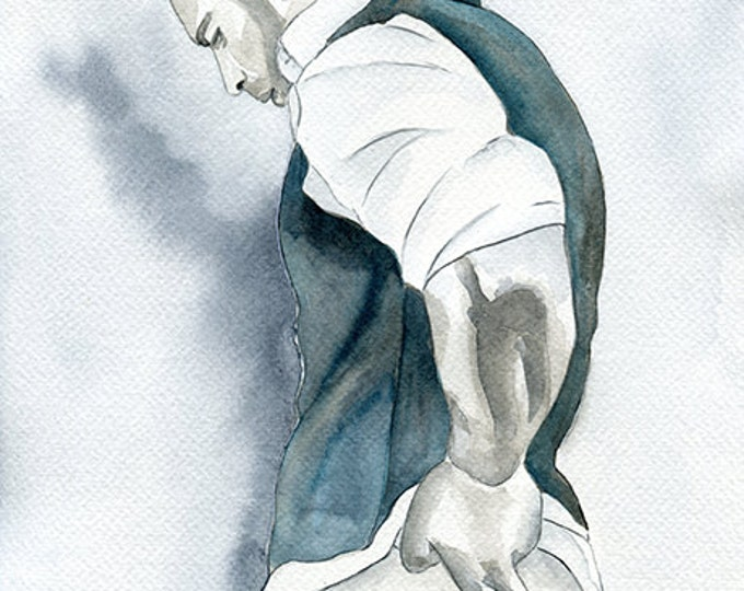 "PRINT of Original Art Work Watercolor Painting Gay Male Nude ""Tough day..."""