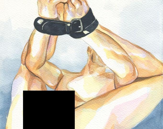 "PRINT of Original Art Work Watercolor Painting Gay Male Nude ""Bound 2"""