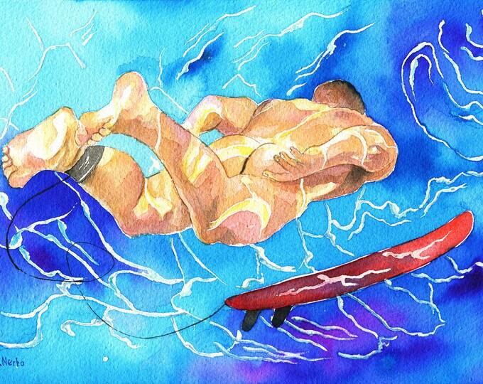 """PRINT of Original Art Work Watercolor Painting Gay Male Nude """"Under water"""""""