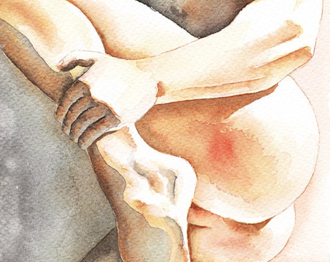 """PRINT of Original Art Work Watercolor Painting Gay Interest Male Nude """"Come Close"""""""