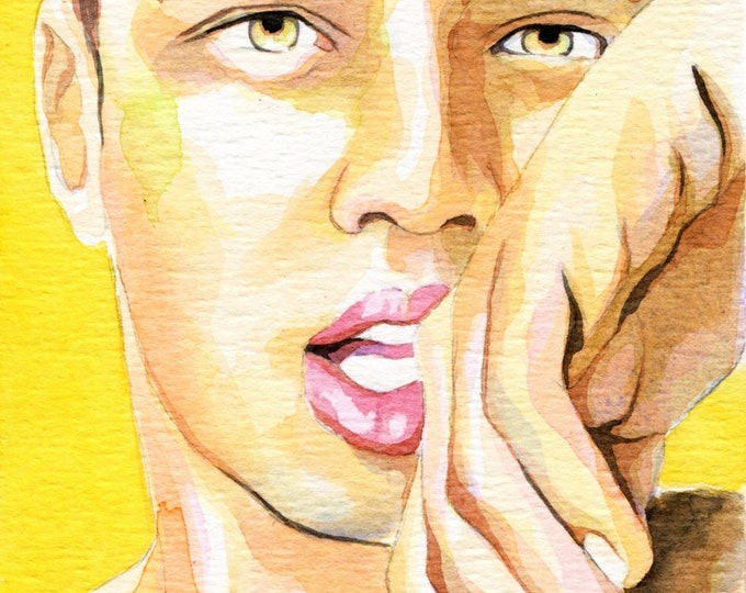 Original Artwork Watercolor Painting Male Portrait Man Gay
