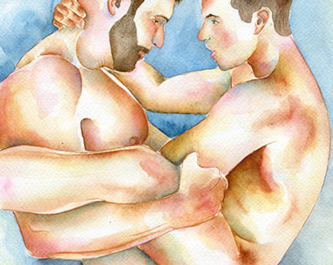 "PRINT of Original Art Work Watercolor Painting Gay Interest Male Nude ""I need you"""