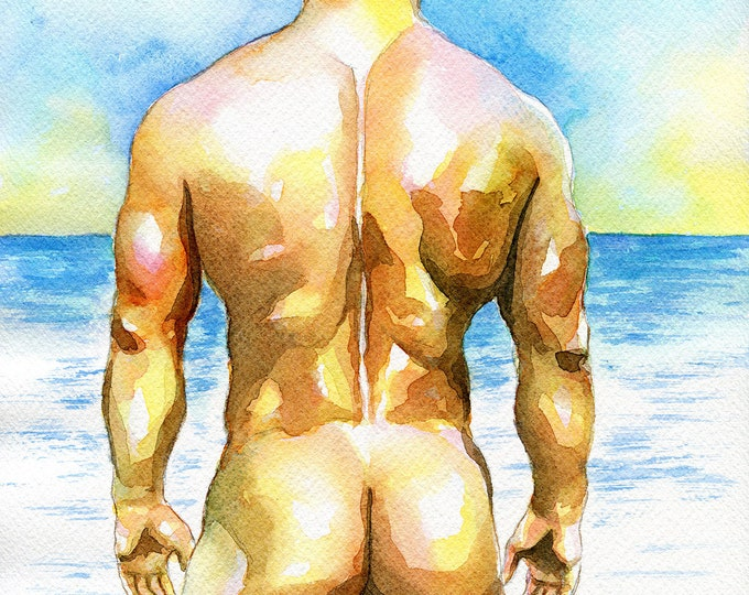 "PRINT of Original Art Work Watercolor Painting Gay Male Nude ""Calm"""