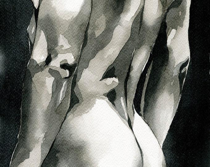 """PRINT of Original Art Work Watercolor Painting Gay Male Nude """"Look"""""""