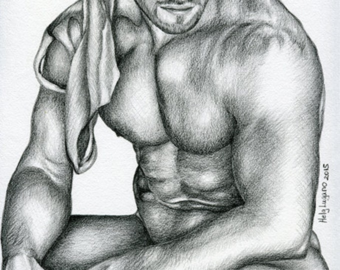 "PRINT of Original Art Work Pencil Drawing Gay Male Nude ""Relaxation"""