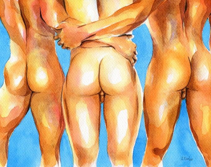 """PRINT of Original Art Work Watercolor Painting Gay Male Nude """"Marvelous"""""""