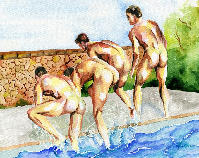 "Print of Original Artwork Watercolor Painting Erotic Male Man Nude Gay ""In the pool"""