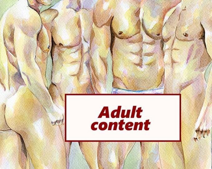 "PRINT of Original Art Work Watercolor Painting Gay Male Nude ""Closer"""