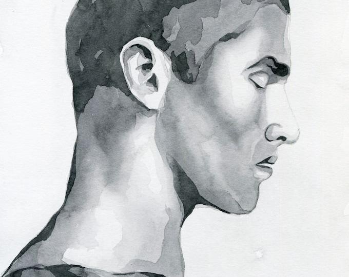 Original Artwork Watercolor Painting Male Portrait Man Boy Gay