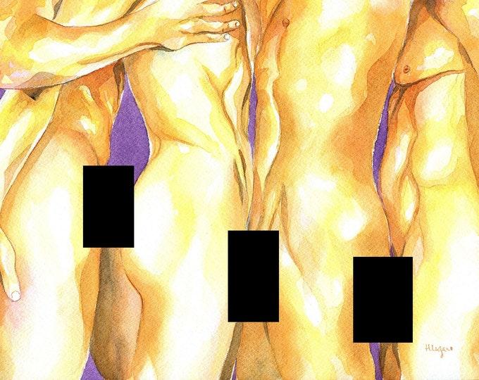 "PRINT of Original Art Work Watercolor Painting Gay Male Nude ""Сlosely"""