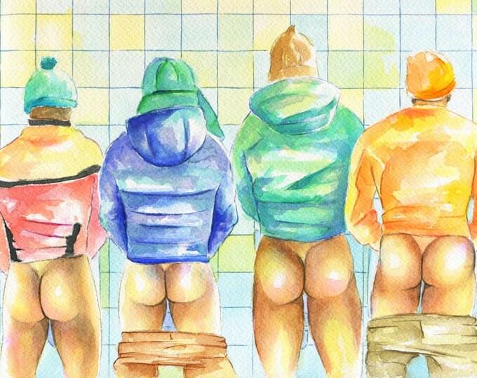 "PRINT of Original Art Work Watercolor Painting Gay Male Nude ""Public toilet 18"""