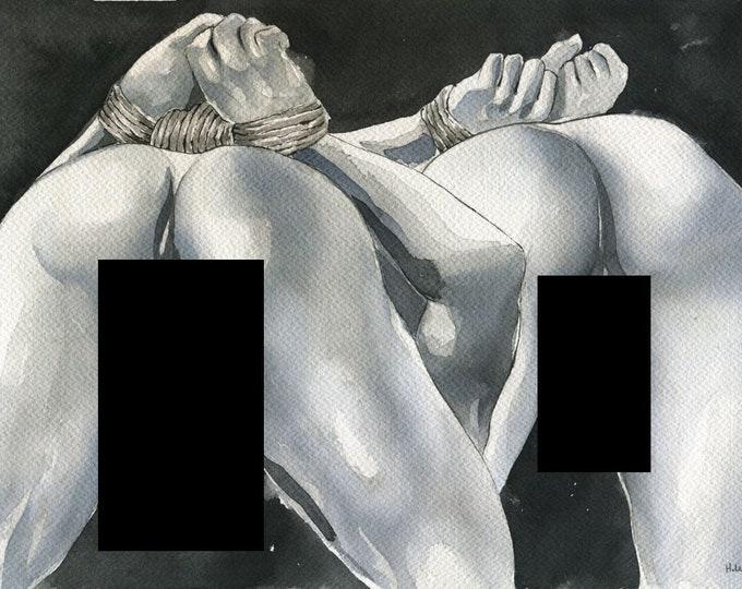 "PRINT of Original Art Work Watercolor Painting Gay Male Nude ""Behave"""