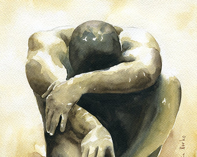 "PRINT of Original Art Work Watercolor Painting Gay Interest Male Nude ""Under pressure"""