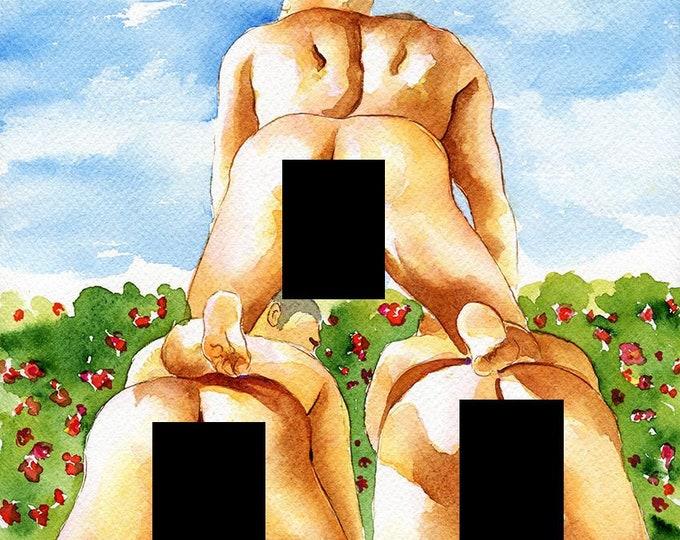 "PRINT of Original Art Work Watercolor Painting Gay Male Nude ""Pyramid"""
