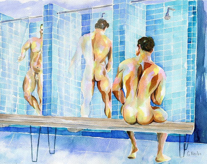 "PRINT of Original Art Work Watercolor Painting Gay Male Nude ""Locker room"""