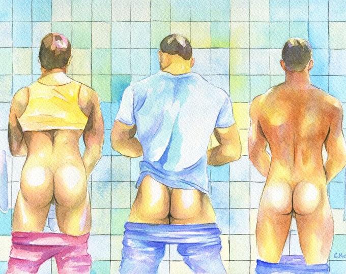 "PRINT of Original Art Work Watercolor Painting Gay Male Nude ""Public toilet 17"""