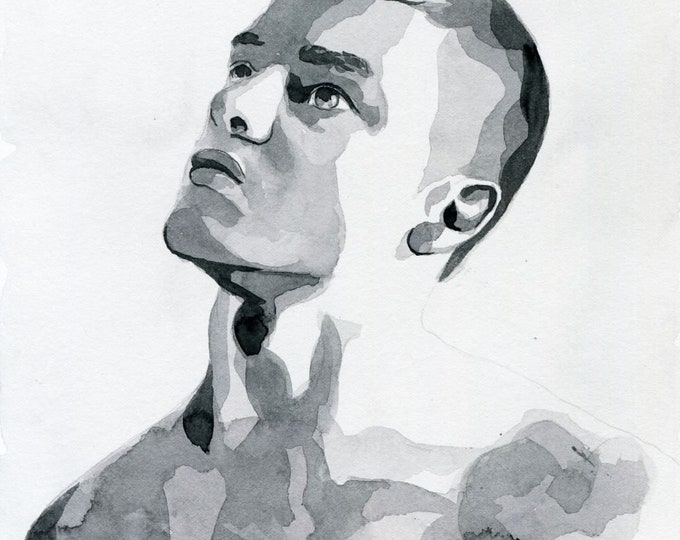 Original Artwork Watercolor Painting Male Portrait Man Boy Gay