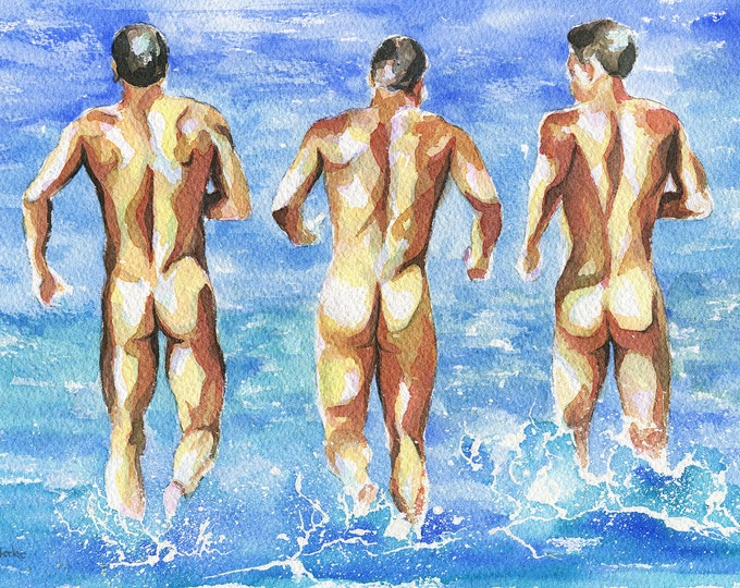 "PRINT of Original Art Work Watercolor Painting Gay Male Nude ""Agua fria"""