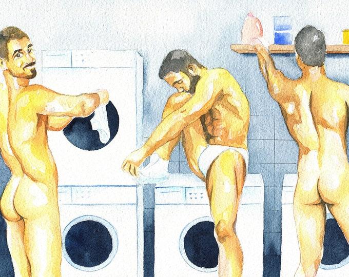 "PRINT of Original Art Work Watercolor Painting Gay Male Nude ""Laundry room"""