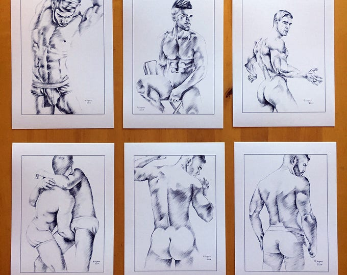 Set of 6 Art Prints Of Helg Lugano Pencil Drawings Male Nude Erotic Man Gay Interest